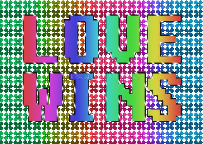 El amor del vintage del Grunge gana el ejemplo del texto del arco iris stock de ilustración
