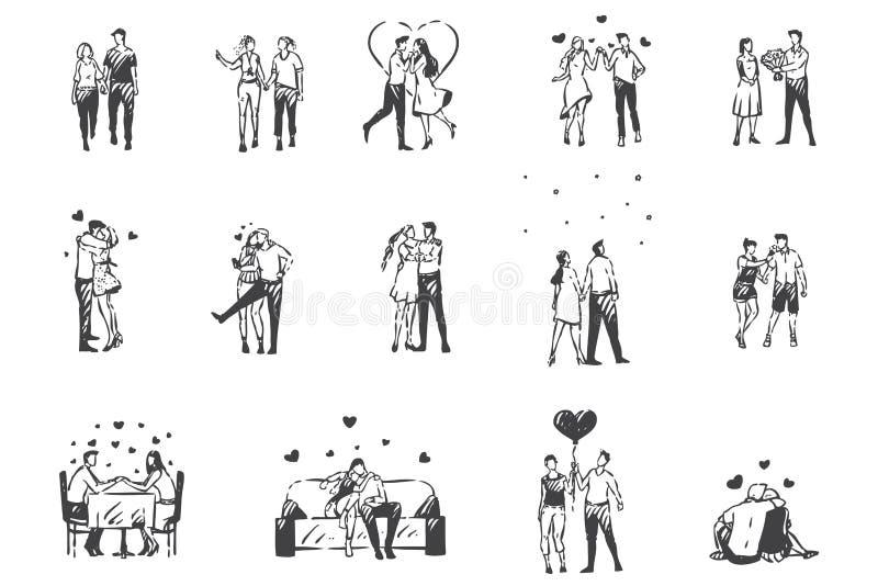 El amor, el dibujo conceptual de la gente encantada Vector aislado dibujado a mano ilustración del vector
