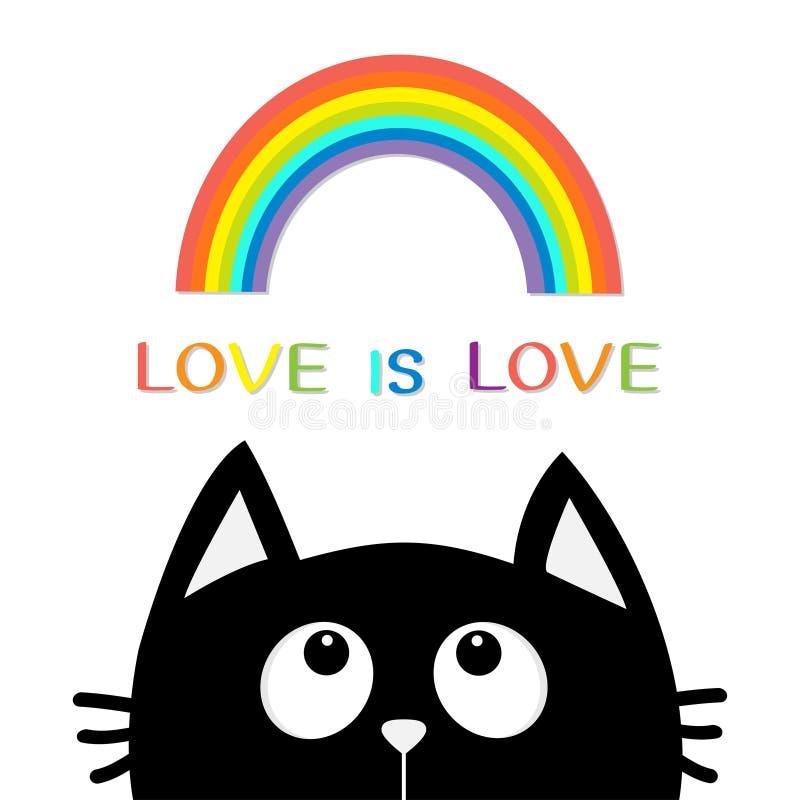 El amor es amor Gato negro que mira para arriba al arco iris Personaje de dibujos animados lindo Rose roja Animal de Kawaii Quier ilustración del vector