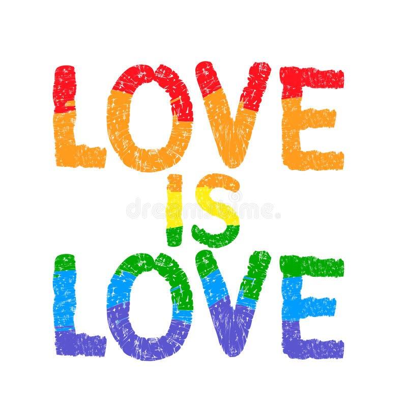 El amor es amor Cartel inspirado del orgullo gay stock de ilustración