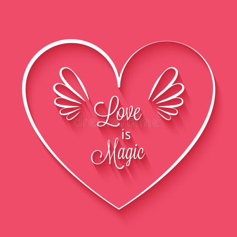El Amor Es Frase Mágica En Marco Del Corazón Ilustración del Vector ...
