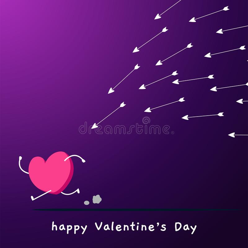 El amor es perseguido por muchas flechas stock de ilustración