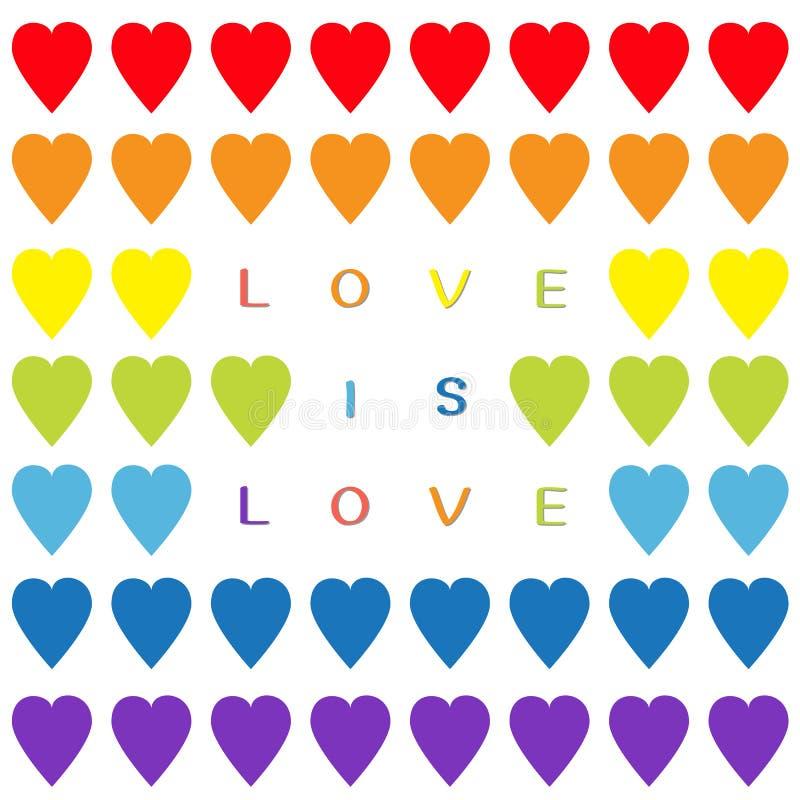 El amor es texto del amor Sistema del corazón del arco iris Modelo inconsútil Papel de embalaje, plantilla de la materia textil S libre illustration