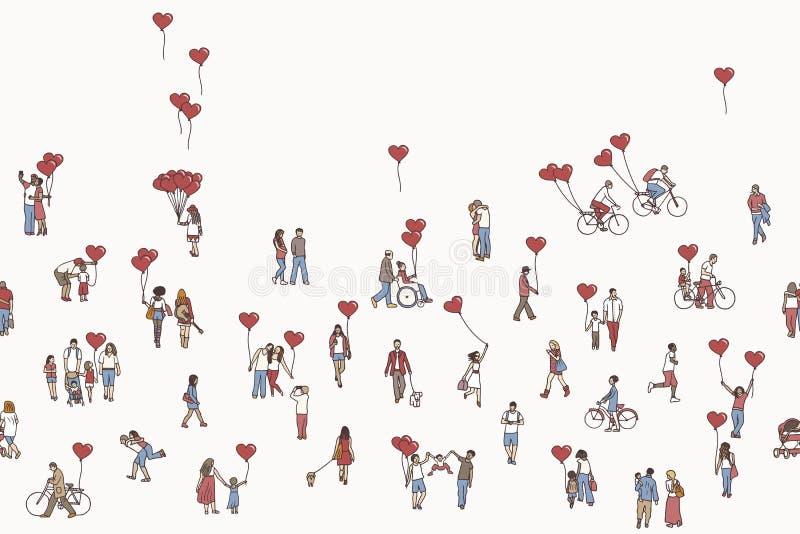 El amor es todo alrededor - ejemplo de la gente minúscula que sostiene los globos en forma de corazón libre illustration