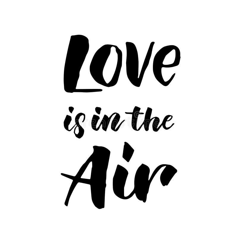 El amor está en la caligrafía dibujada mano del texto del aire stock de ilustración