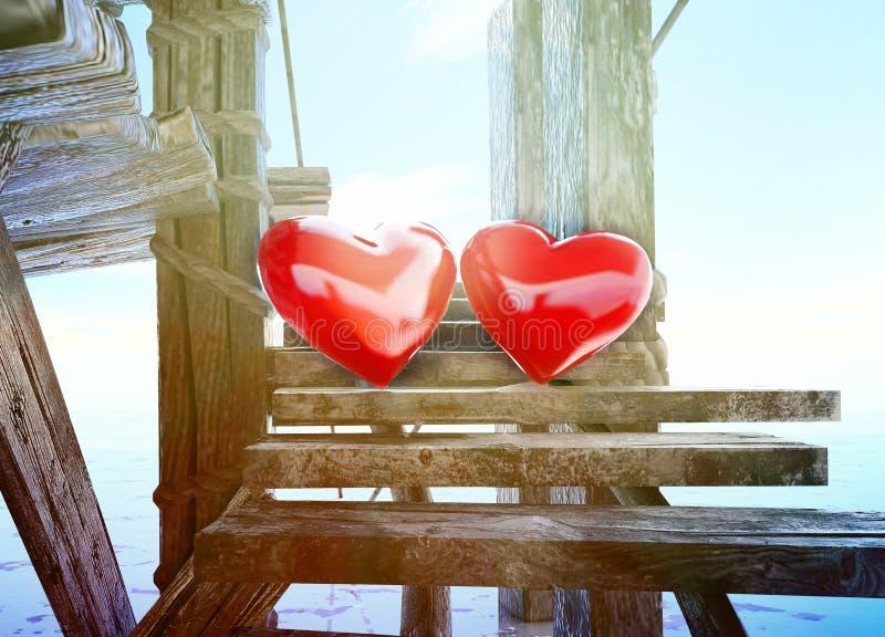 ¡El amor está todo alrededor! Símbolos del corazón hechos en el fondo del cielo stock de ilustración