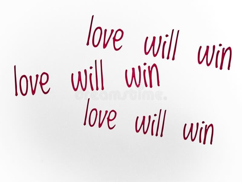 El amor ganará cita en color rojo ilustración del vector