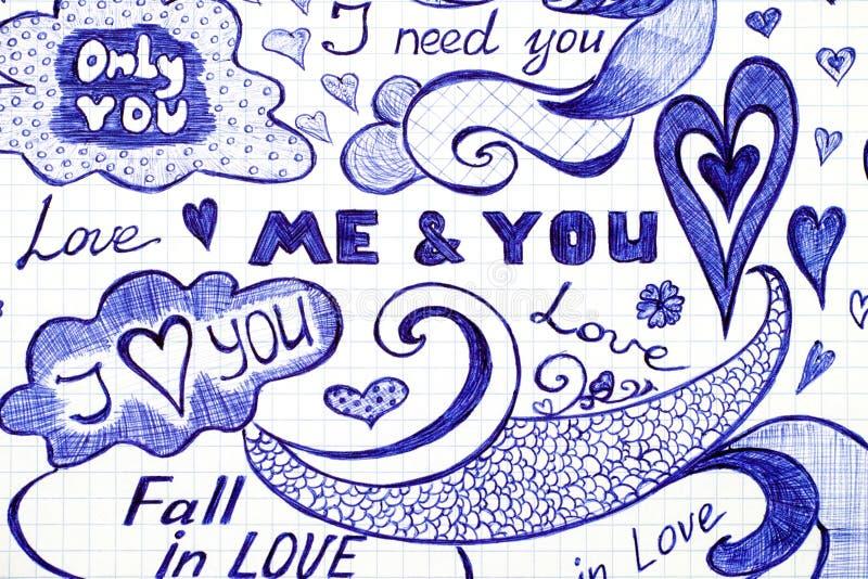 El amor garabatea mensajes con frase, los modelos y los elementos ilustración del vector