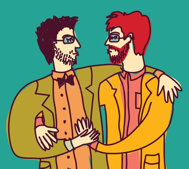 El amor gay inteligente elegante del lgbt de los pares sirve solamente ilustración del vector
