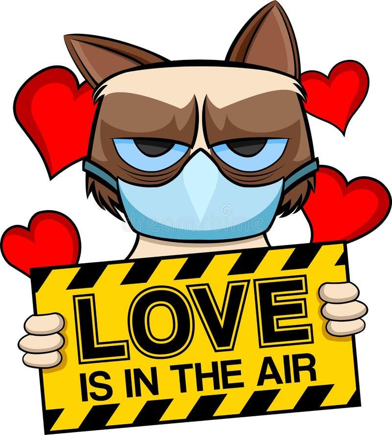 El amor gruñón del gato está en el aire ilustración del vector