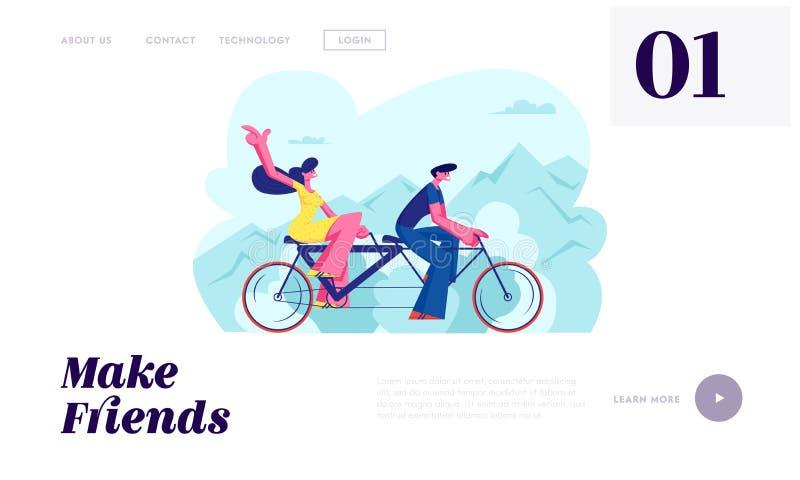 El amor joven junta la bicicleta en tándem del paseo Tiempo disponible de las vacaciones del tiempo de verano, ocio, viaje románt ilustración del vector