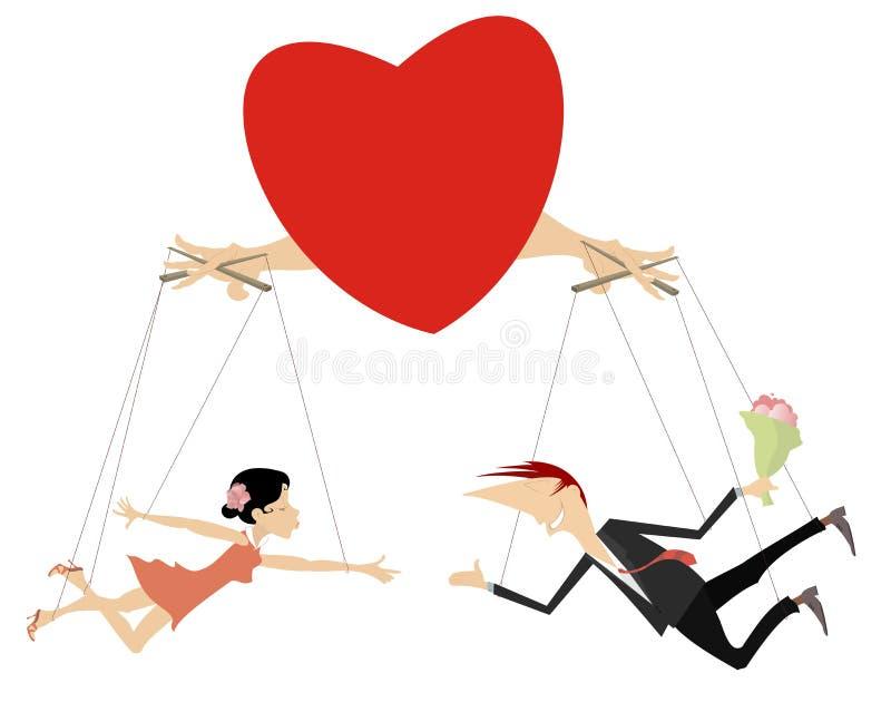 El amor junta el ejemplo del concepto aislado stock de ilustración