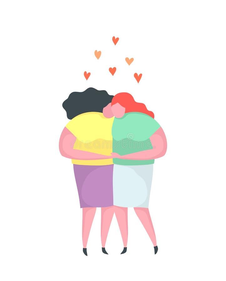 El amor lesbiano junta besarse abrazando diseño plano homosexual stock de ilustración