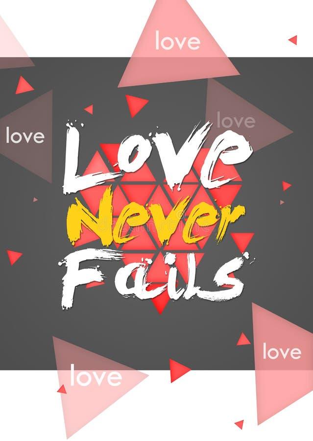 El amor nunca falla el fondo de la oscuridad del retrato stock de ilustración