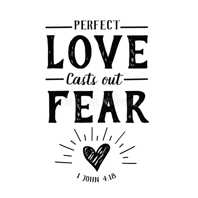 El amor perfecto echa hacia fuera el emblema del miedo stock de ilustración
