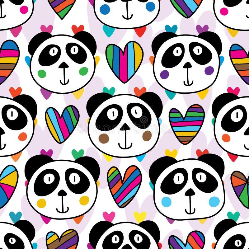 El amor principal de la panda muchos ama el modelo inconsútil ilustración del vector