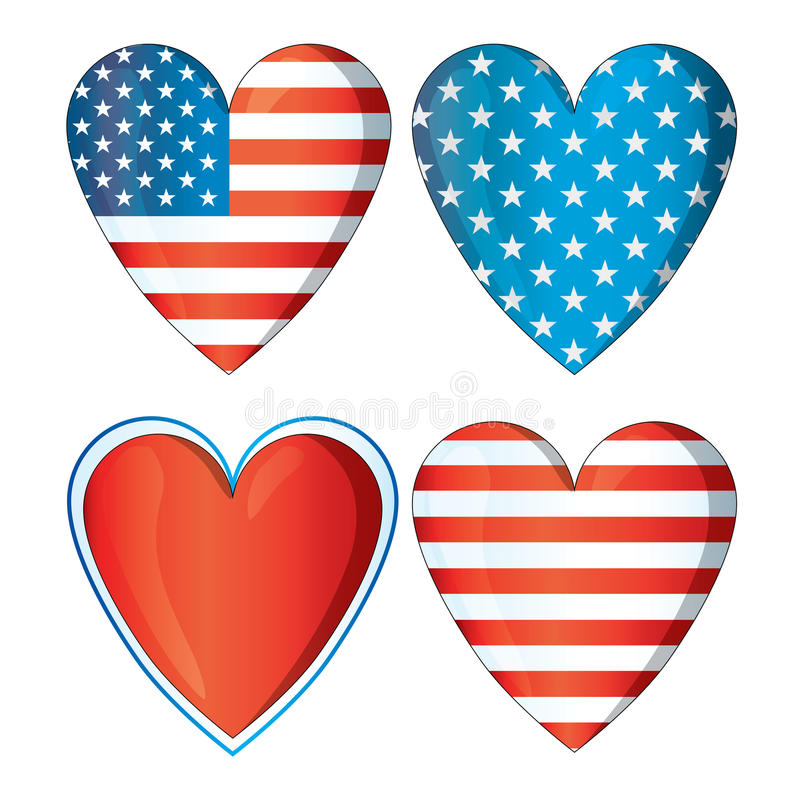 El amor rojo los E.E.U.U. del corazón señala el ejemplo 4to de los corazones por medio de una bandera del formato azul blanco 4 d libre illustration