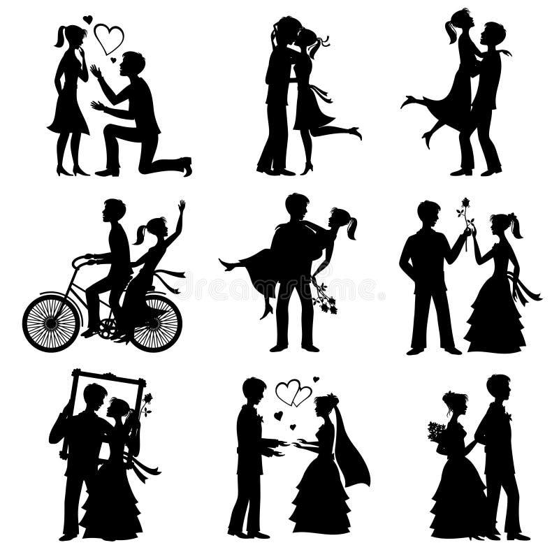 El amor romántico junta las siluetas del vector para la invitación del día y de boda de las tarjetas del día de San Valentín libre illustration
