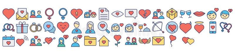 El amor y el icono aislado romántico del vector fijaron eso se pueden modificar fácilmente o corrigen ilustración del vector