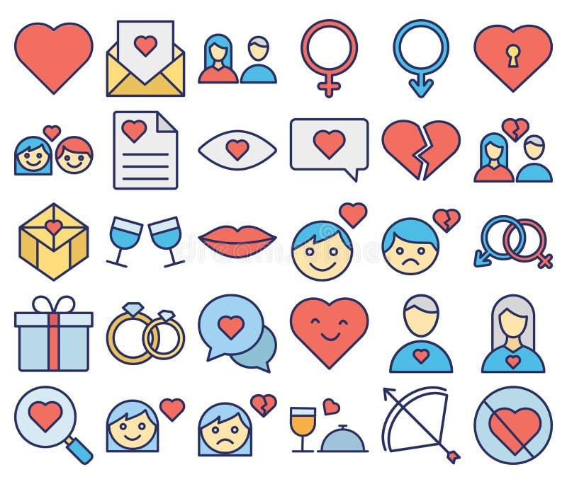 El amor y el icono aislado rom?ntico del vector fijaron eso se pueden modificar f?cilmente o corrigen stock de ilustración