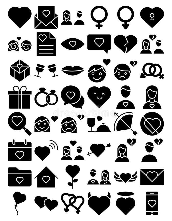 El amor y el icono aislado rom?ntico del vector fijaron eso se pueden modificar f?cilmente o corrigen libre illustration