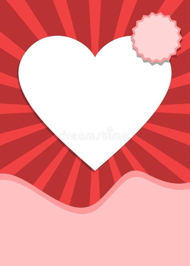 El amor y la bandera del día de tarjetas del día de San Valentín con el corazón forman stock de ilustración