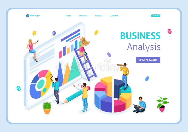 El análisis de negocio isométrico de la página del aterrizaje de la plantilla de la página web, puede utilizar para la bandera de ilustración del vector
