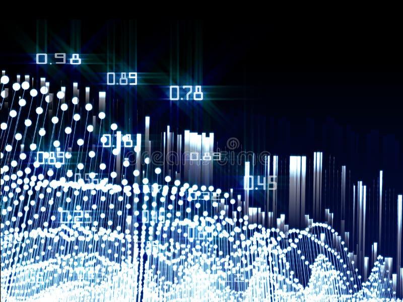 El análisis del extracto infographic con brilla puntos en fondo azul Concepto grande de los datos stock de ilustración