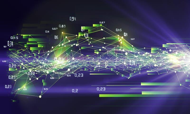 El análisis del extracto infographic encendido brilla el fondo Datos grandes ilustración del vector