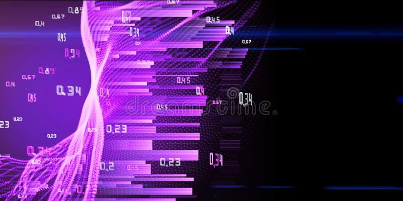 El análisis del extracto infographic encendido brilla el fondo púrpura Concepto grande de los datos ilustración del vector