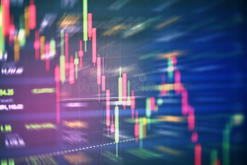 El análisis o las divisas rojo del intercambio de la caída de precios de la crisis de la acción abajo de la caída de la carta/del fotos de archivo libres de regalías