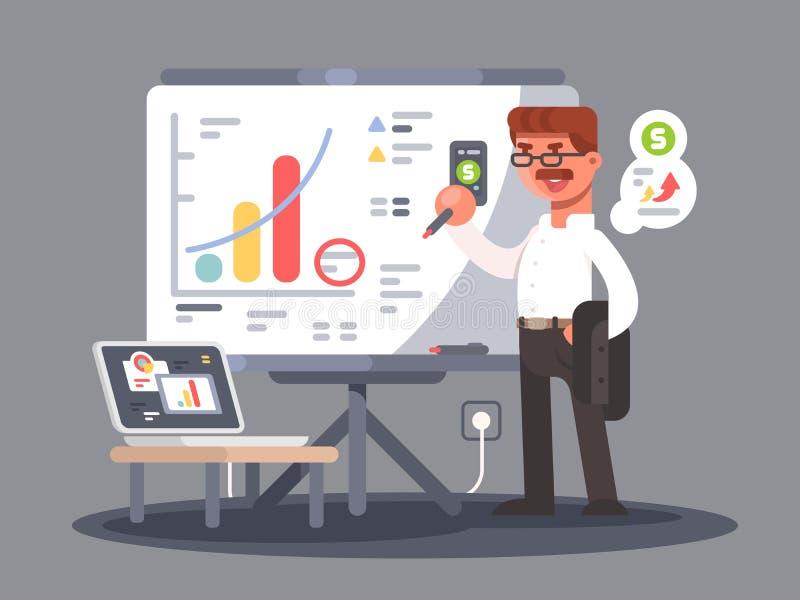 El analista del negocio muestra la presentación stock de ilustración