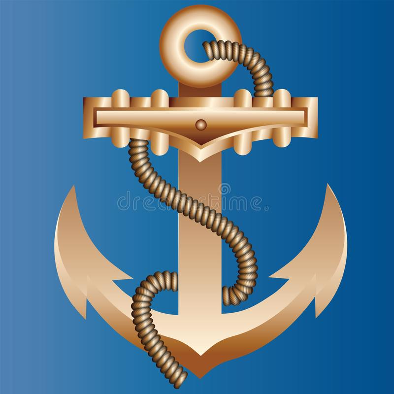 El ancla masiva de la nave del oro trenzada con una cuerda de c?namo gruesa en un fondo azul brillante del color de la agua de ma stock de ilustración