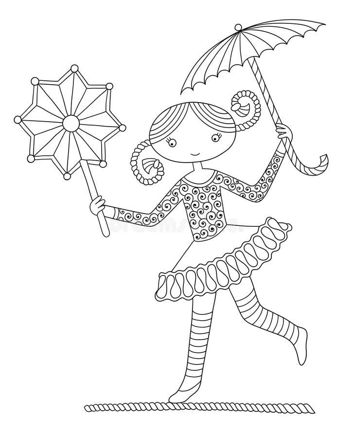 El andar sobre una cuerda floja bonito del acróbata de la muchacha ilustración del vector