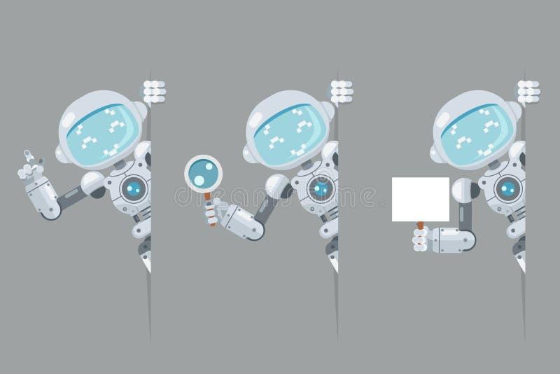 El androide adolescente del robot del muchacho mira hacia fuera el cartel de la esquina a disposición que señala en la inteligenc stock de ilustración
