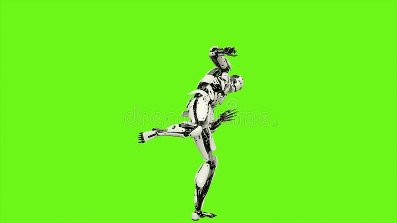 El androide del robot es demostraciones sus habilidades que luchan Movimiento realista en la pantalla verde representación 3d ilustración del vector