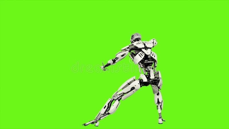 El androide del robot es lanzamientos a la bola de la energía Movimiento colocado realista en fondo de pantalla verde representac stock de ilustración
