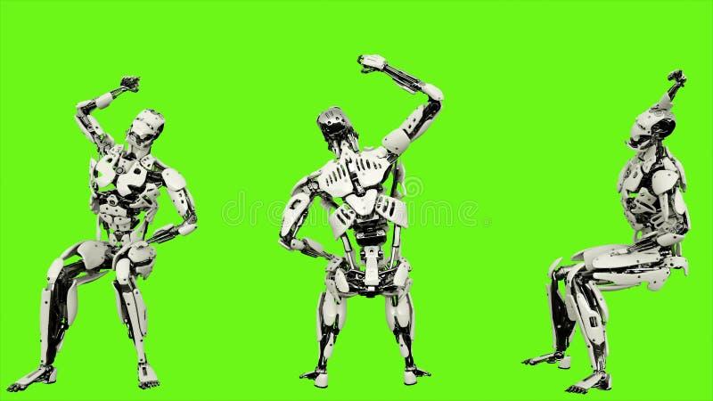El androide del robot está animando mientras que se sienta Movimiento colocado realista en fondo de pantalla verde representación libre illustration