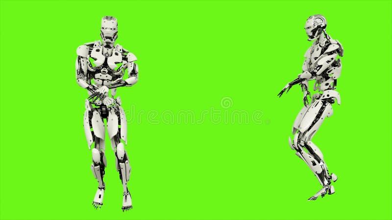 El androide del robot está bailando el hip-hop Movimiento colocado realista en fondo de pantalla verde representación 3d stock de ilustración