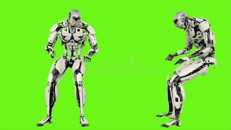 El androide del robot está golpeando el movimiento colocado realista del puño en fondo de pantalla verde representación 3d libre illustration