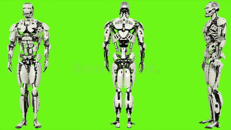 El androide del robot está introduciendo código Movimiento colocado realista en fondo de pantalla verde representación 3d stock de ilustración