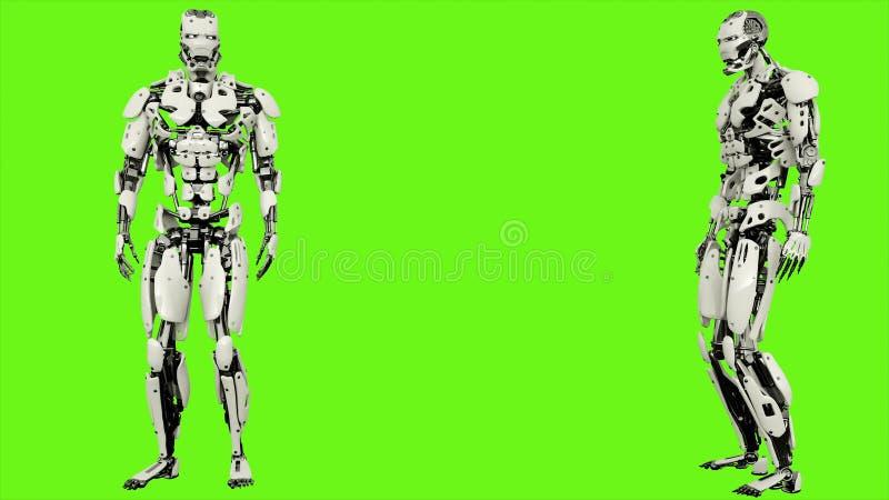 El androide del robot mira en la distancia Movimiento realista en la pantalla verde representación 3d libre illustration