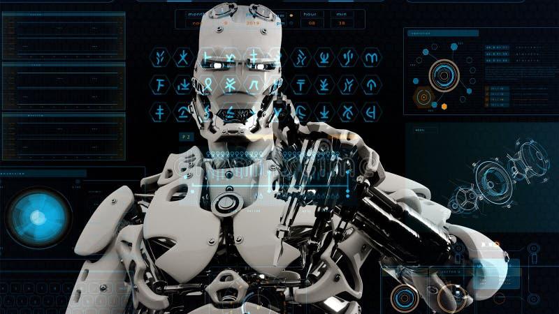 El androide del robot pulsa las teclas en la pantalla de la ciencia ficción Fondo realista del movimiento representación 3d stock de ilustración