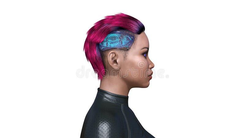 El androide femenino con tecnología parte, mujer biomecánica con los implantes de la cabeza, inteligencia artificial, 3D rinde stock de ilustración