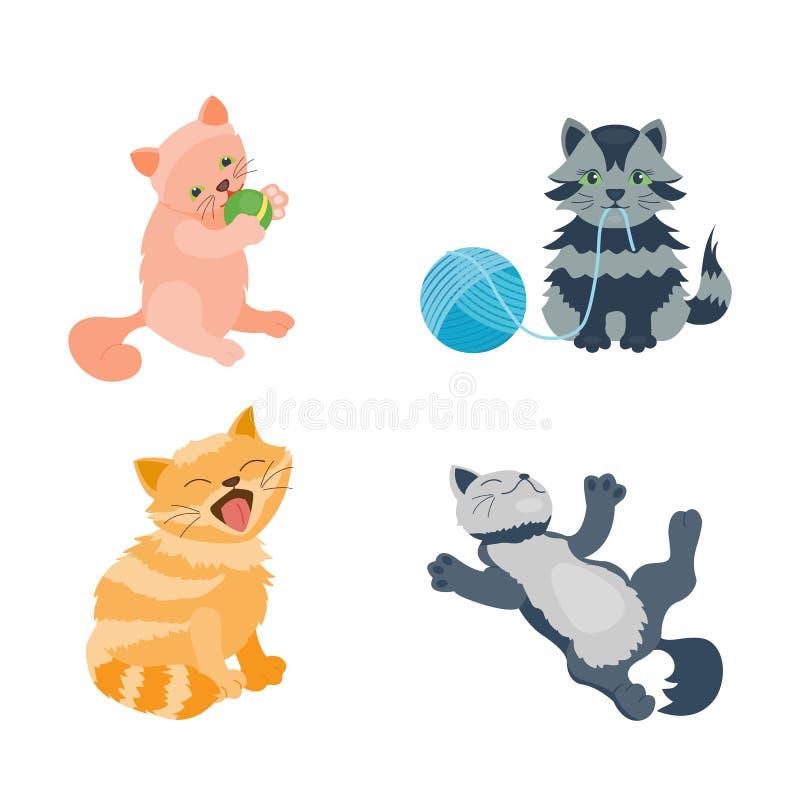 El animal adorable joven mullido de la historieta del gatito de la raza del gato del retrato lindo del animal doméstico y la dive ilustración del vector