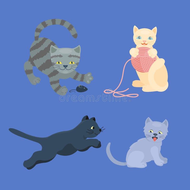 El animal adorable joven mullido de la historieta del gatito de la raza del gato del retrato lindo del animal doméstico y la dive libre illustration