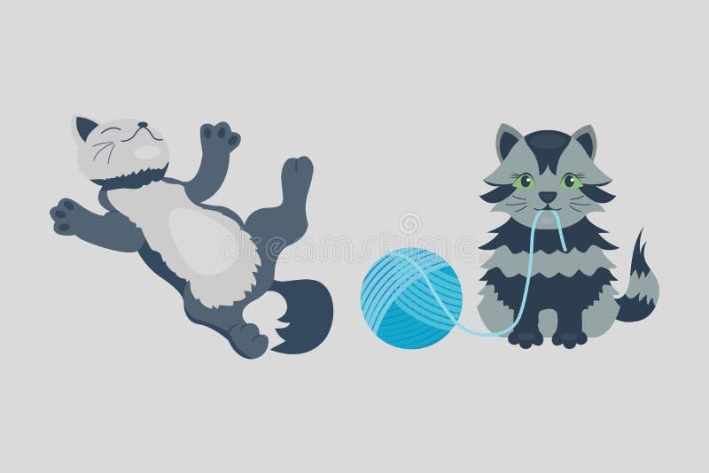 El animal adorable joven mullido de la historieta del gatito de la raza del gato del retrato lindo del animal doméstico y la dive stock de ilustración