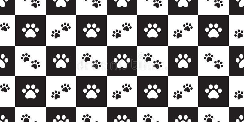 El animal doméstico inconsútil del gato de la huella del vector del modelo de la pata del perro comprobó diseño aislado bufanda d libre illustration