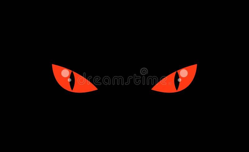 El animal rojo asustadizo del monstruo observa en oscuridad stock de ilustración