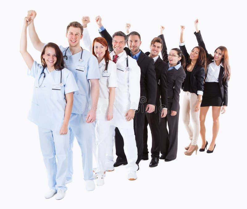 El animar de los doctores y de los encargados foto de archivo libre de regalías